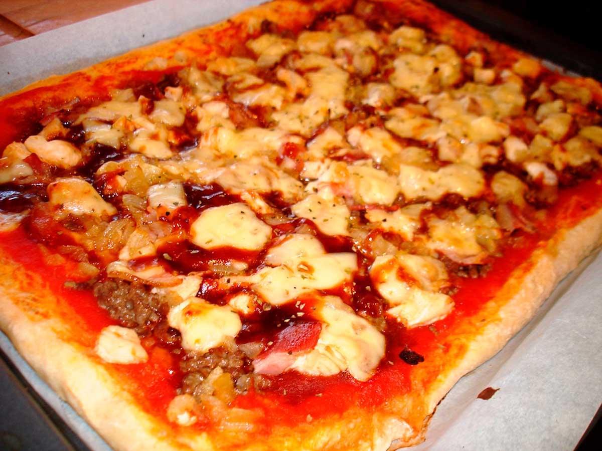 Pizza Barbacoa sin lactosa casera