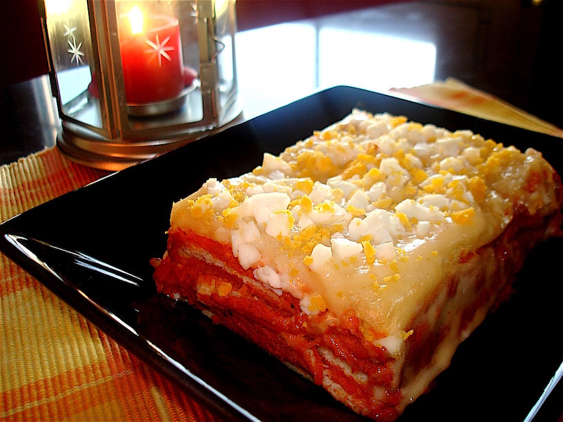 Figuipudding o Pastel Bimbo de pimientos , atún y mayonesa