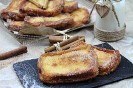 Torrijas sin lactosa con azúcar y canela