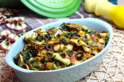 Lacitos de de pasta con verduras y albahaca sin lactosa   Farfalle tricolori