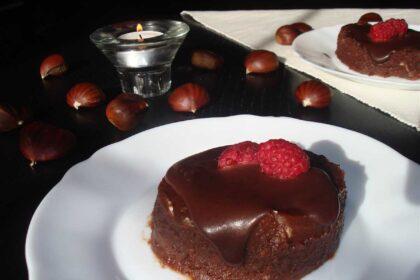 Tarta de castañas y chocolate sin lactosa