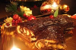 Tronco de Navidad sin lactosa de chocolate relleno de mousse de turrón