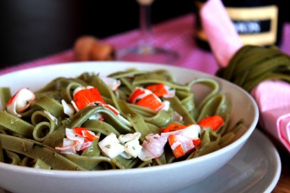 Fetuccini o Nidos de espinacas con aceite, guindilla y ajo