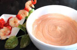 Salsa rosa o salsa cocktail sin lactosa