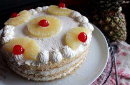 Tarta de piña y ron sin lactosa