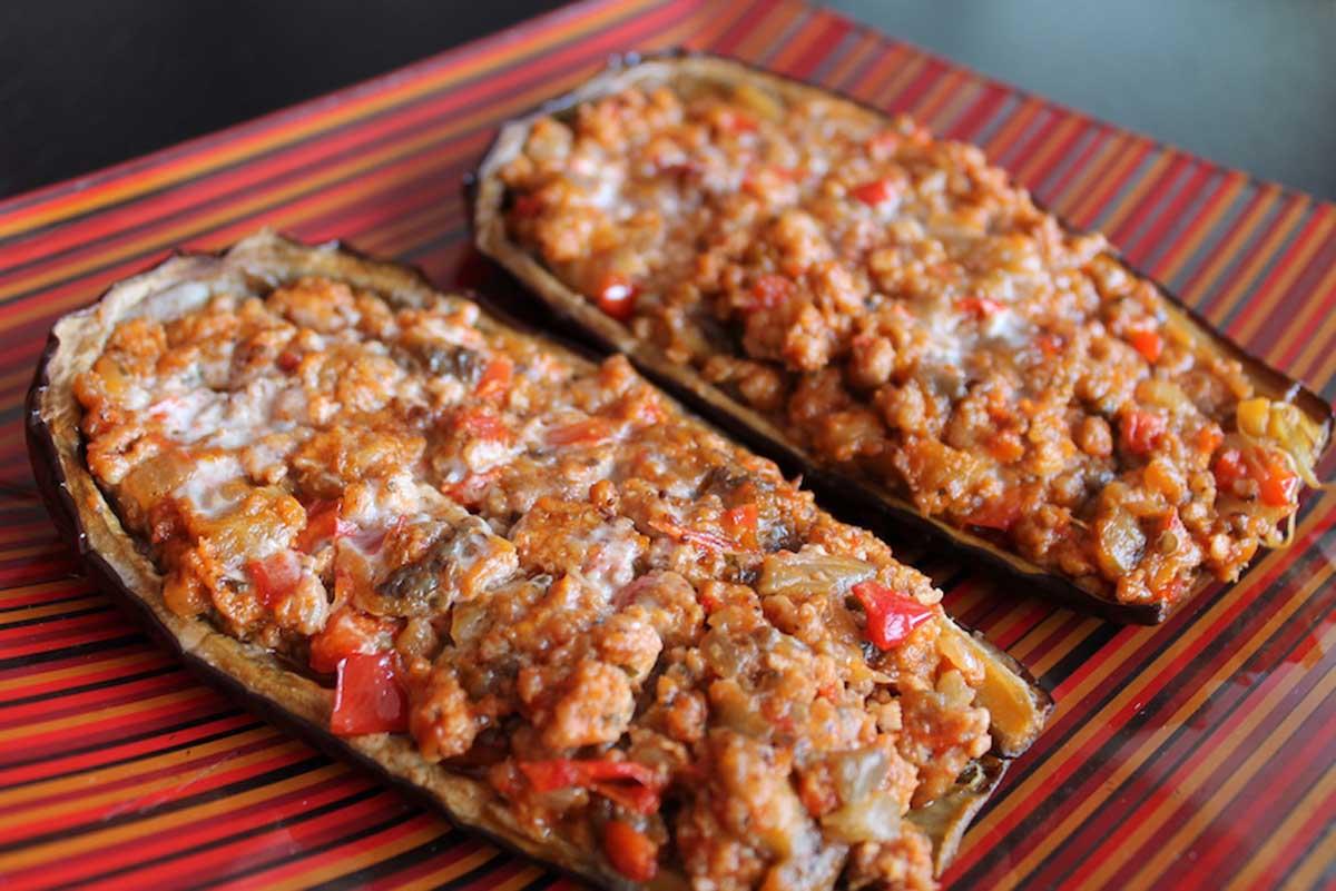 Berenjenas rellenas de carne criolla sin lactosa