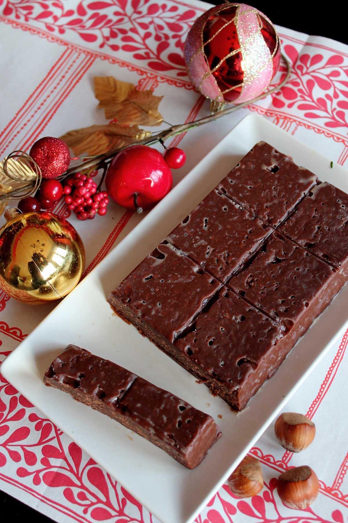 Turrón de nutella de chocolate sin lactosa