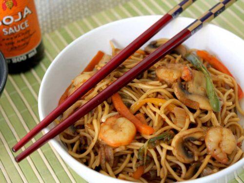 Wok De Fideos Chinos Con Gambas Prawn Chow Mein Noodles
