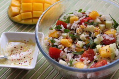 ensalada de arroz salvaje con mango