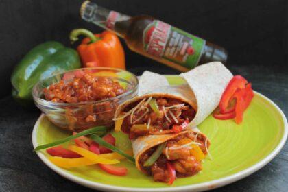 Burritos mexicanos de pollo y queso sin lactosa