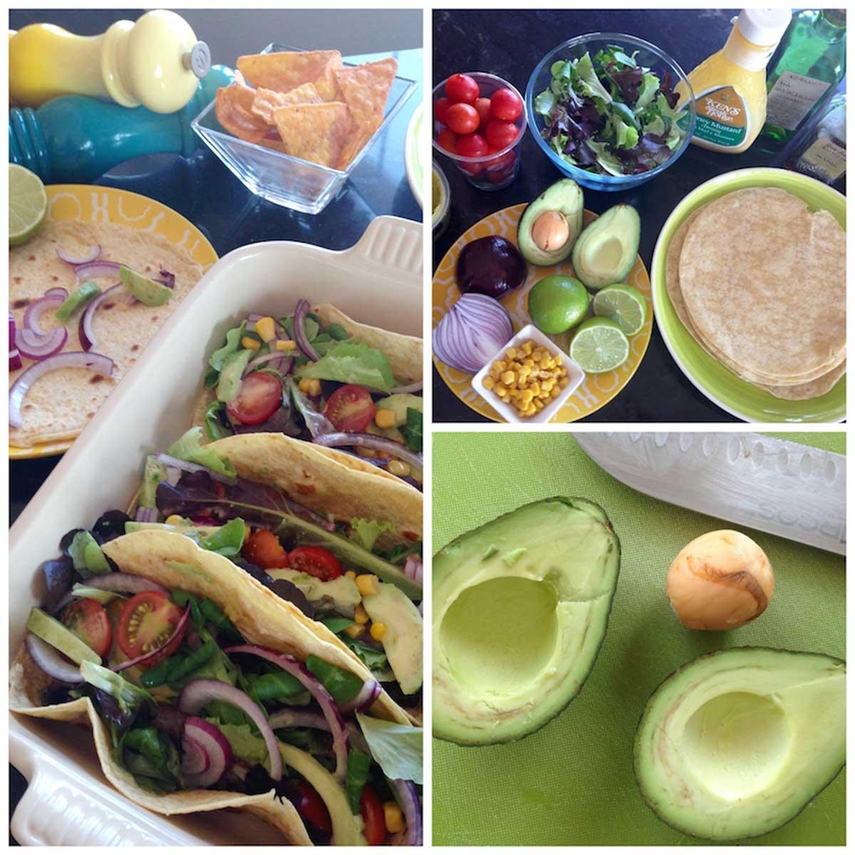 Tacos vegetarianos sin lactosa