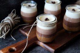 Tarta tres chocolates en vasitos sin lactosa