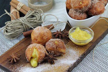 Buñuelos de viento rellenos de crema pastelera sin lactosa