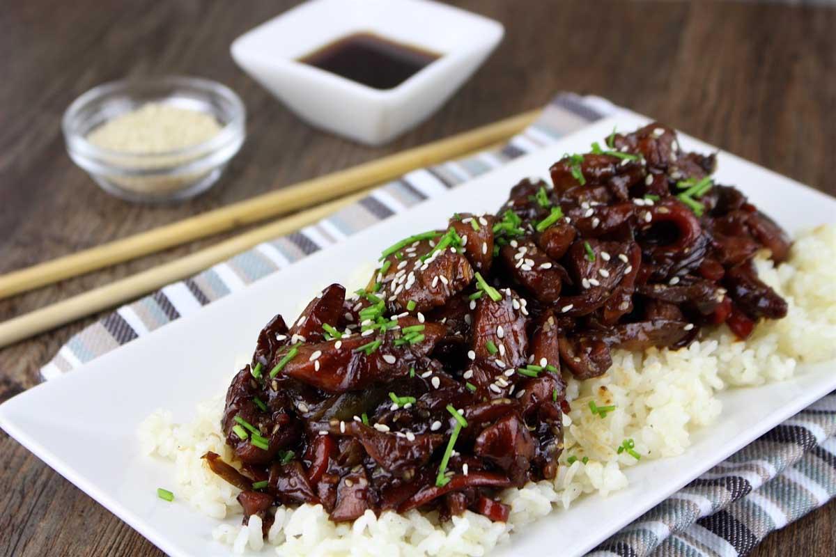 Pollo teriyaki con verduras al wok