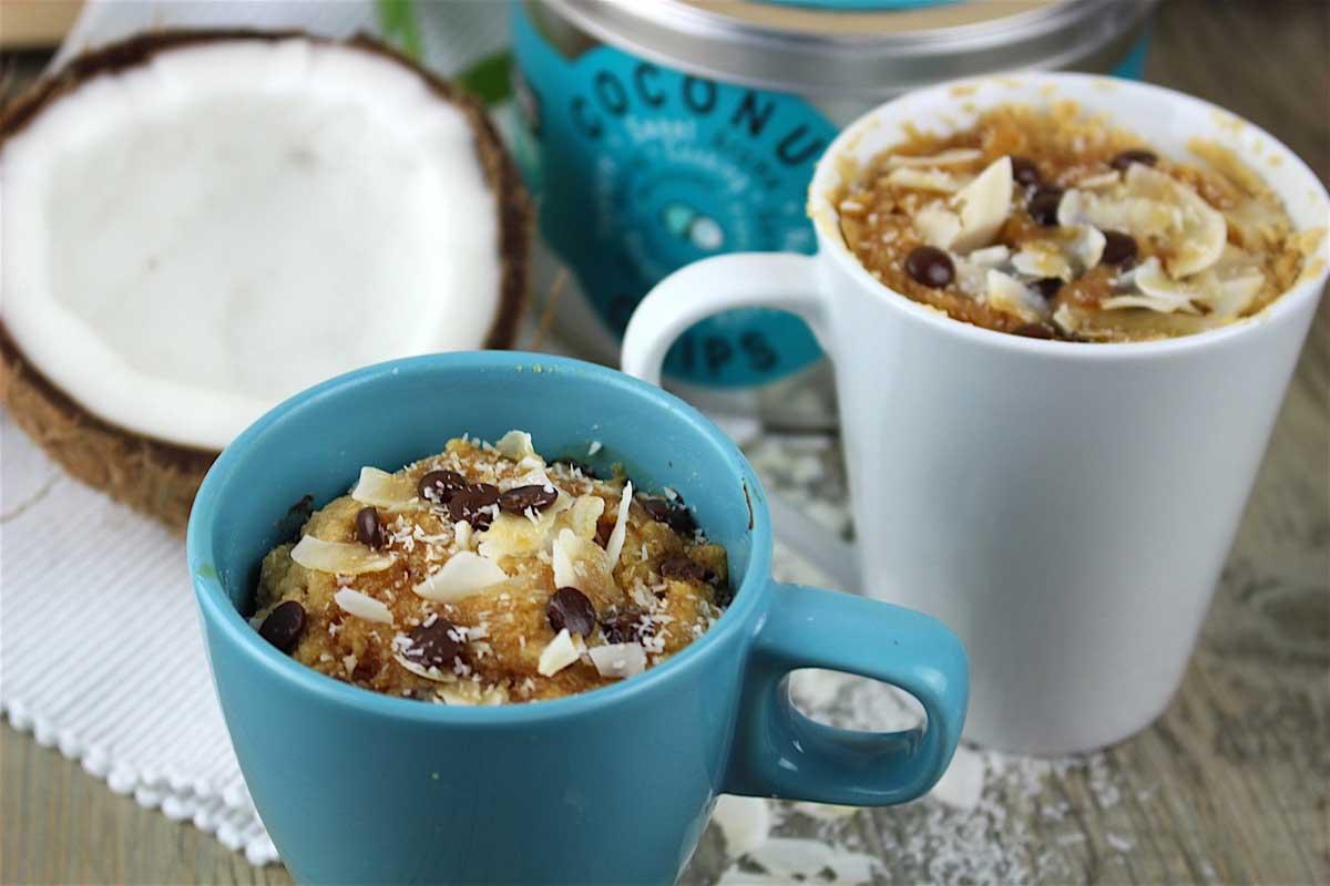Mug cake de coco sin gluten y sin leche