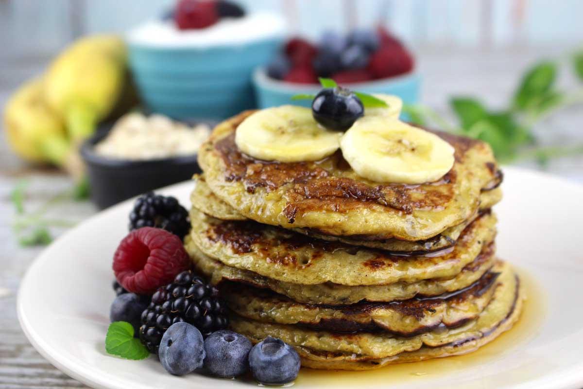 Tortitas avena y plátano. Pancakes sin harina, sin leche y sin azúcar