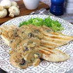 Pollo con salsa de champiñones sin lactosa