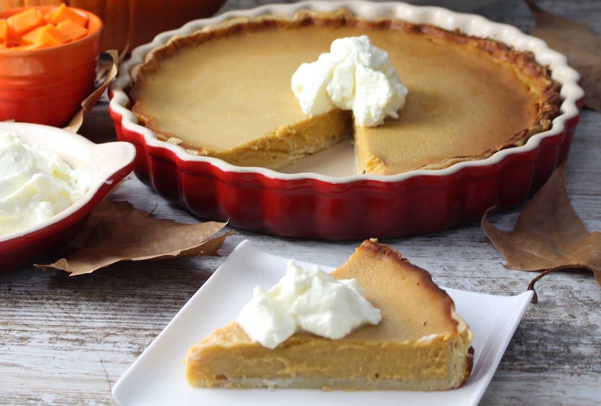 Tarta de calabaza sin lactosa con leche condensada (American Pumpkin pie)