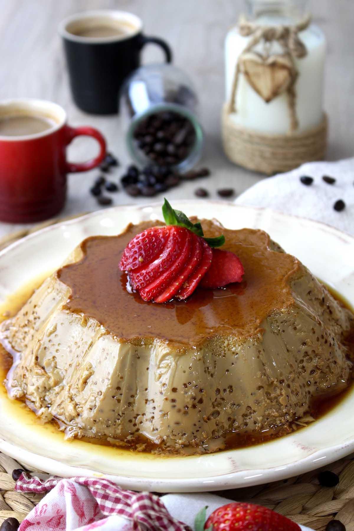 Flan de café y leche condensada o flan de café bombón sin lactosa
