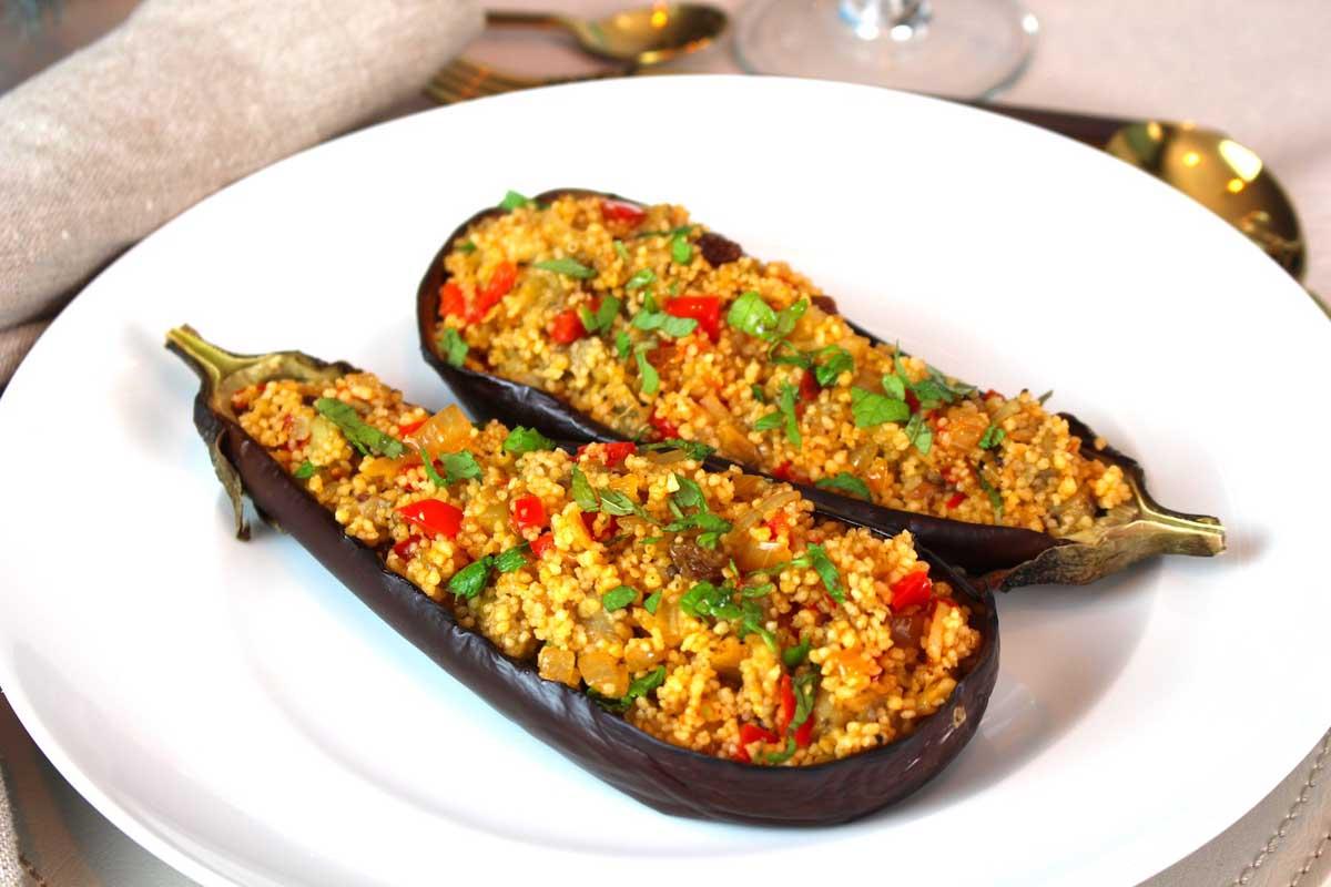 Berenjenas rellenas de cuscús y frutos secos