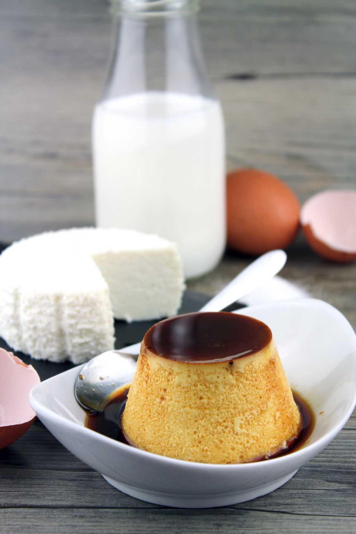 Flan de queso fresco sin lactosa o flan de requesón