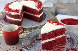 Tarta red velvet sin lactosa o tarta terciopelo rojo