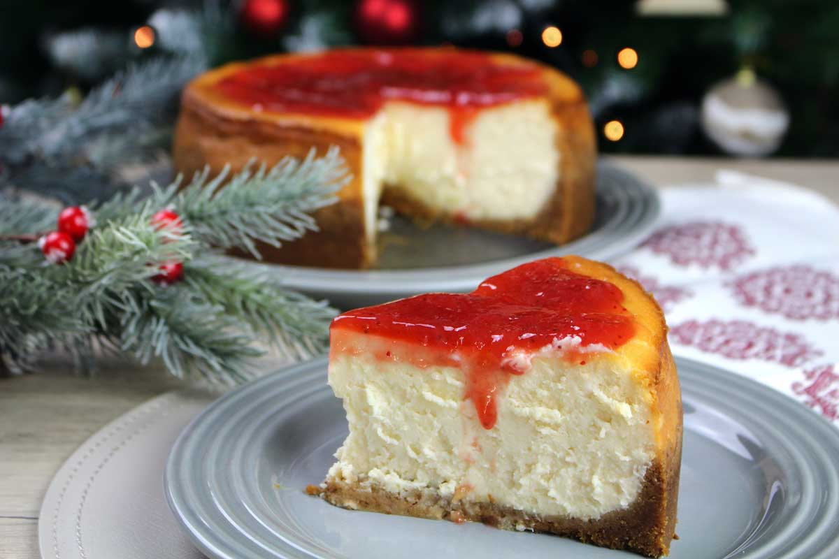Tarta de queso americana sin lactosa. New York Cheesecake