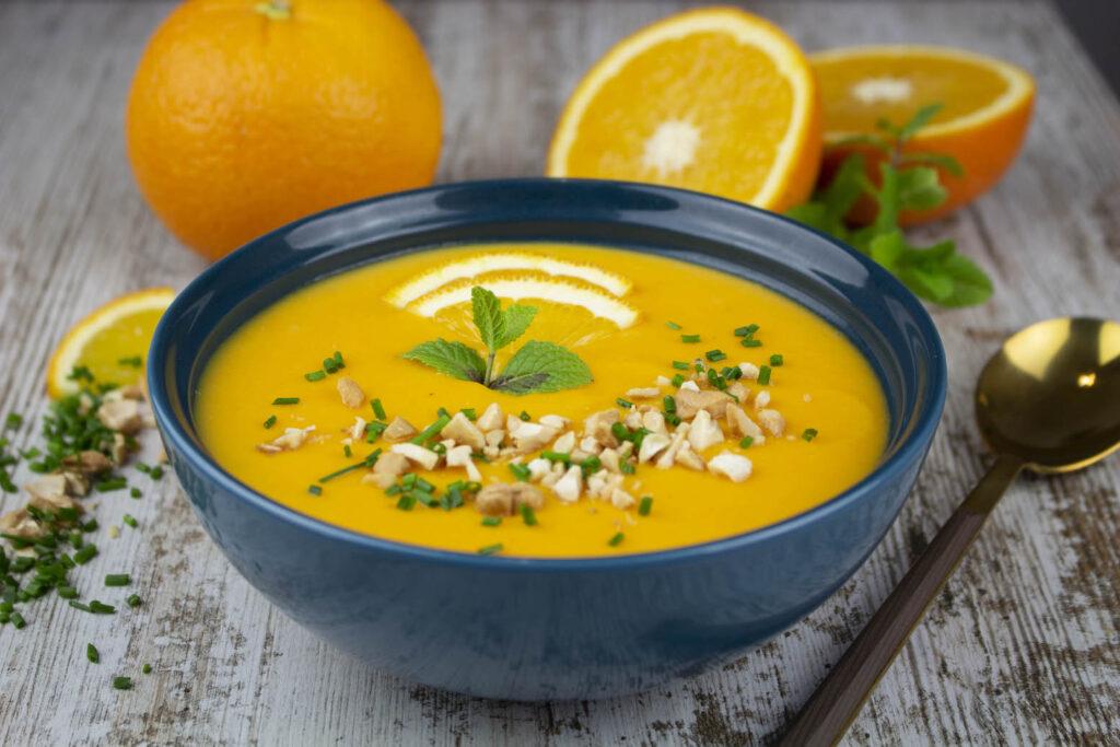 Crema de zanahoria y naranja sin lácteos
